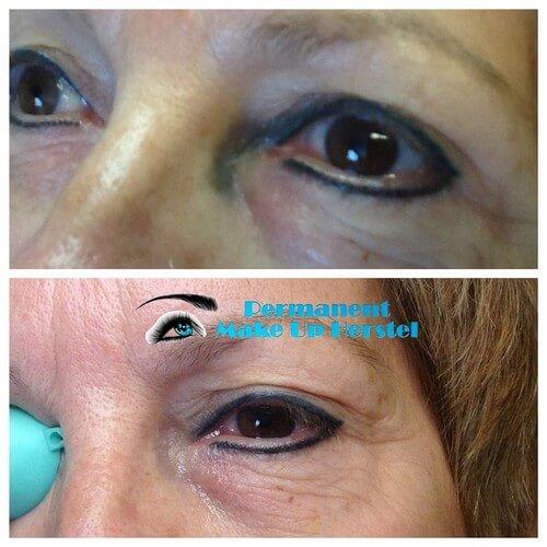Uitgelopen pigment tussen neus en eyeliner verwijderen